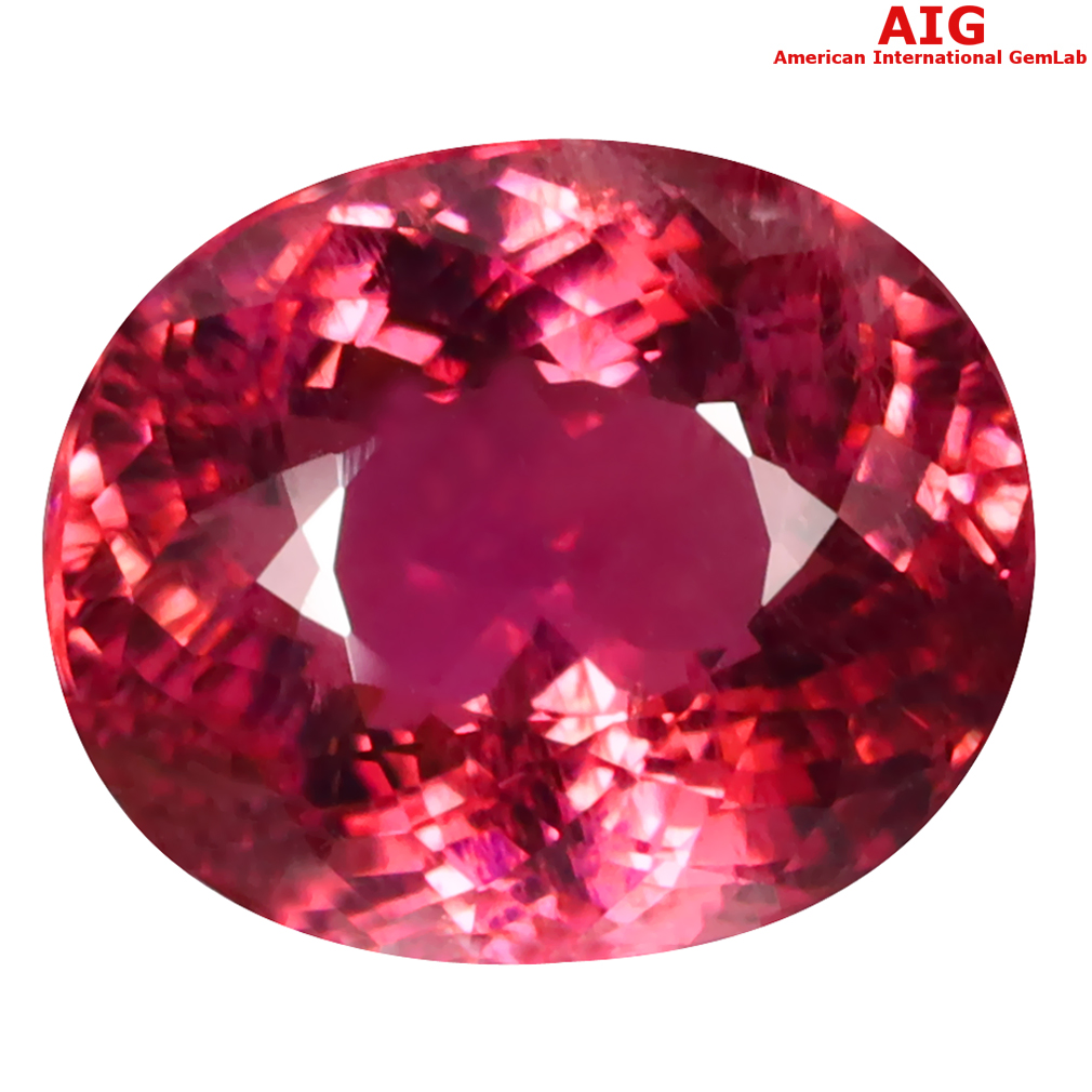 8.41 ct AIG CERTIFIED TERRIFIC OVAL CUT (13 X 11 MM) MOZAMBIQUE RUBELLITE TOURMALINE LOOSE STONE