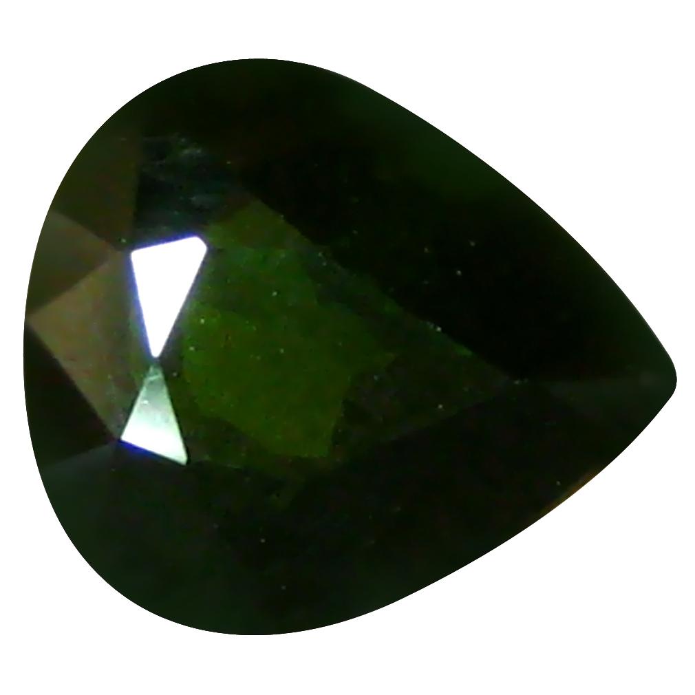 1.57 ct Beautiful Pear (8 x 7 mm) Un-Heated Mozambique Green Tourmaline Loose Gemstone