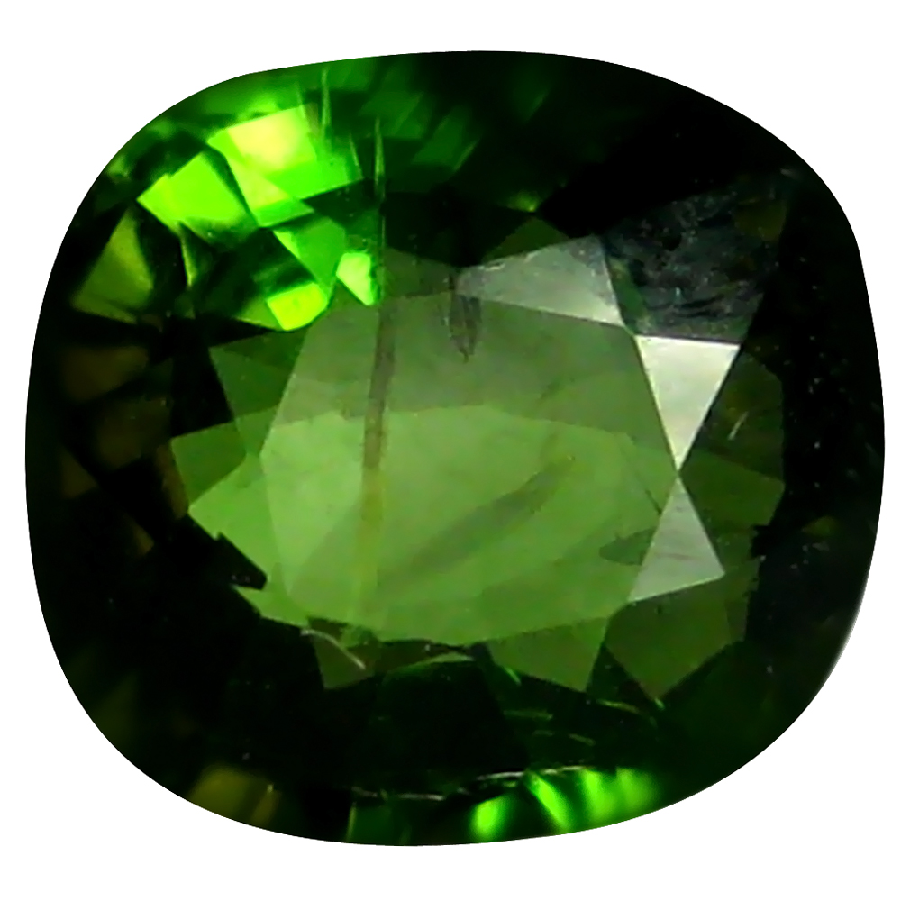 1.67 ct Grand looking Cushion (8 x 7 mm) Un-Heated Mozambique Green Tourmaline Loose Gemstone