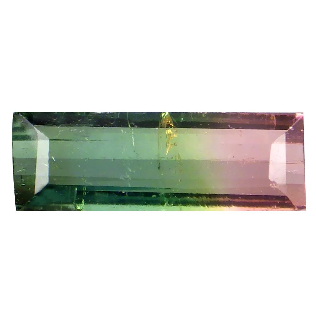 0.47 ct INCOMPARABLE OCTAGON (8 X 3 MM) BRAZILIAN BI-COLOR TOURMALINE LOOSE GEMSTONE