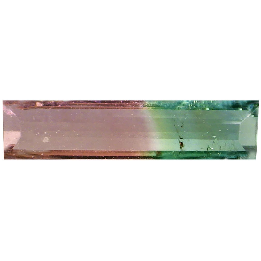 0.48 ct MAGNIFICENT OCTAGON (10 X 2 MM) BRAZILIAN BI-COLOR TOURMALINE LOOSE GEMSTONE