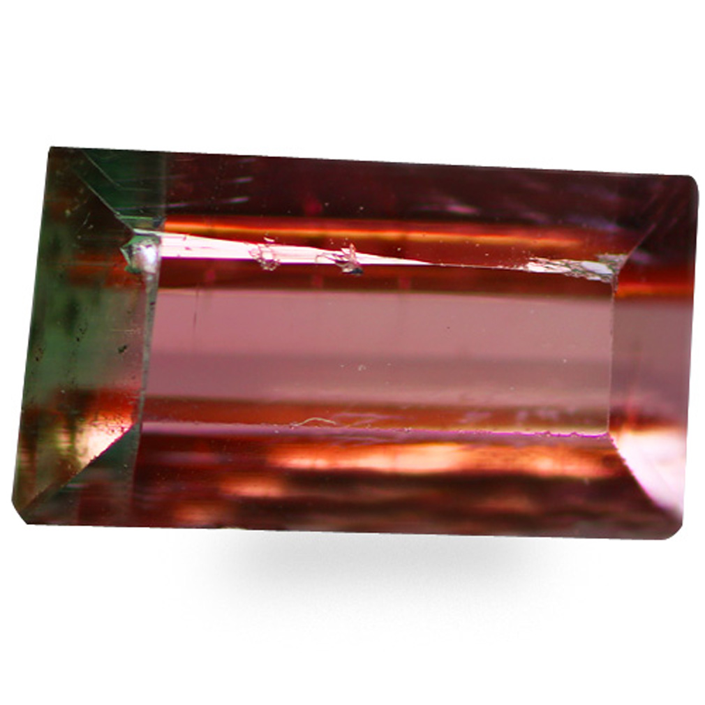 0.92 ct AAA Pretty Octagon Cut (7 x 4 mm) Watermelon Color Bi-Color Tourmaline Natural Gemstone