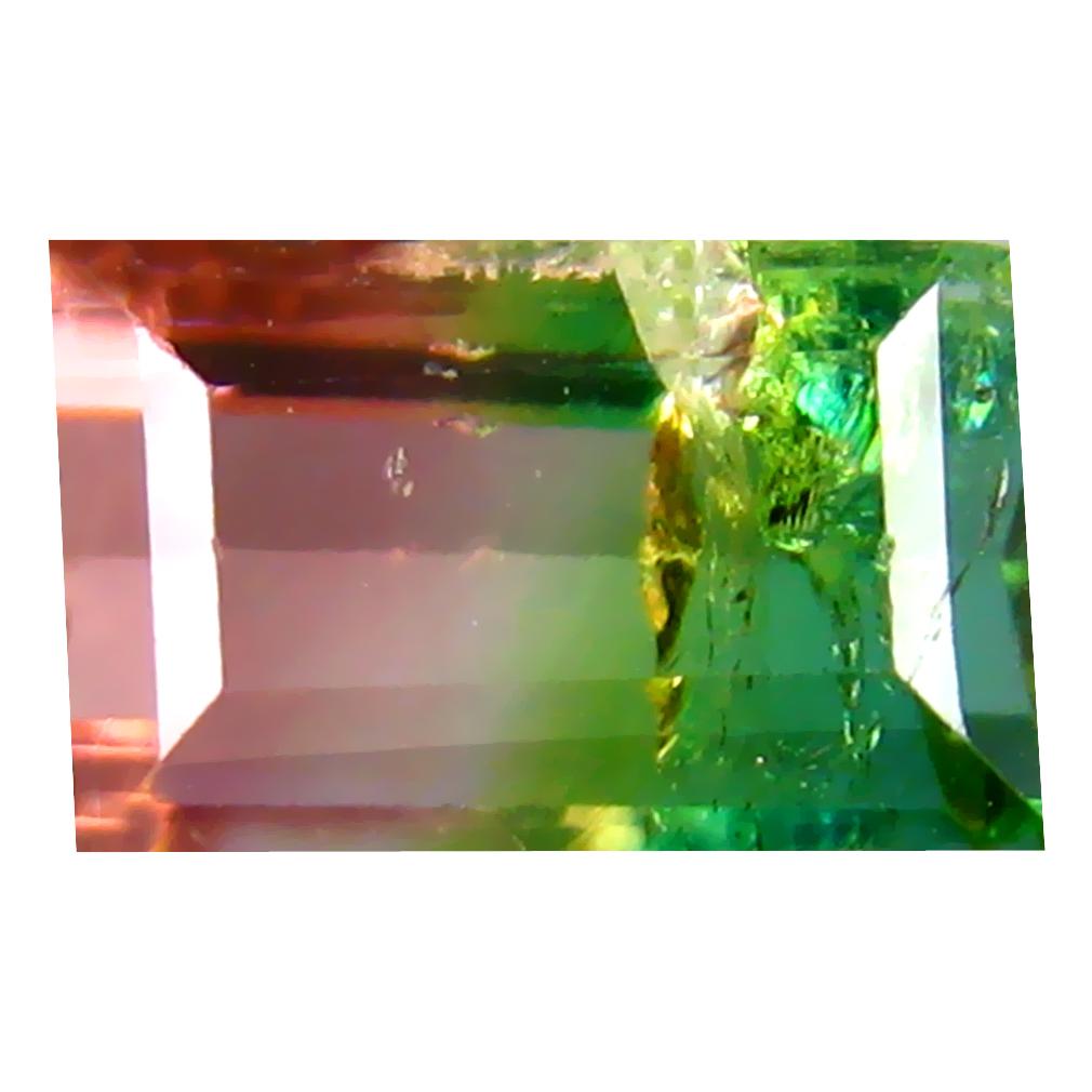 1.35 ct SPECTACULAR OCTAGON (7 X 5 MM) BRAZILIAN BI-COLOR TOURMALINE LOOSE GEMSTONE