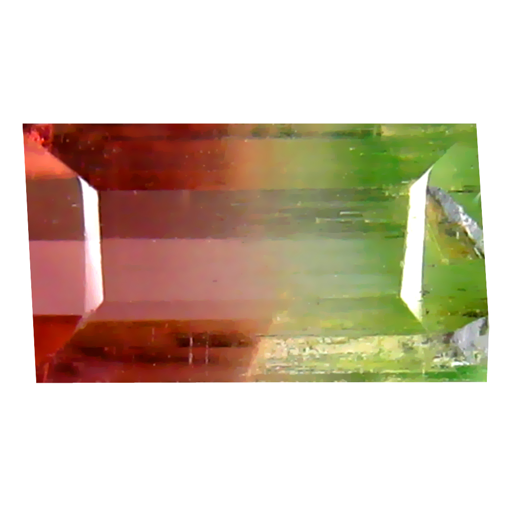 1.17 ct FLASHING OCTAGON (8 X 4 MM) BRAZILIAN BI-COLOR TOURMALINE LOOSE GEMSTONE
