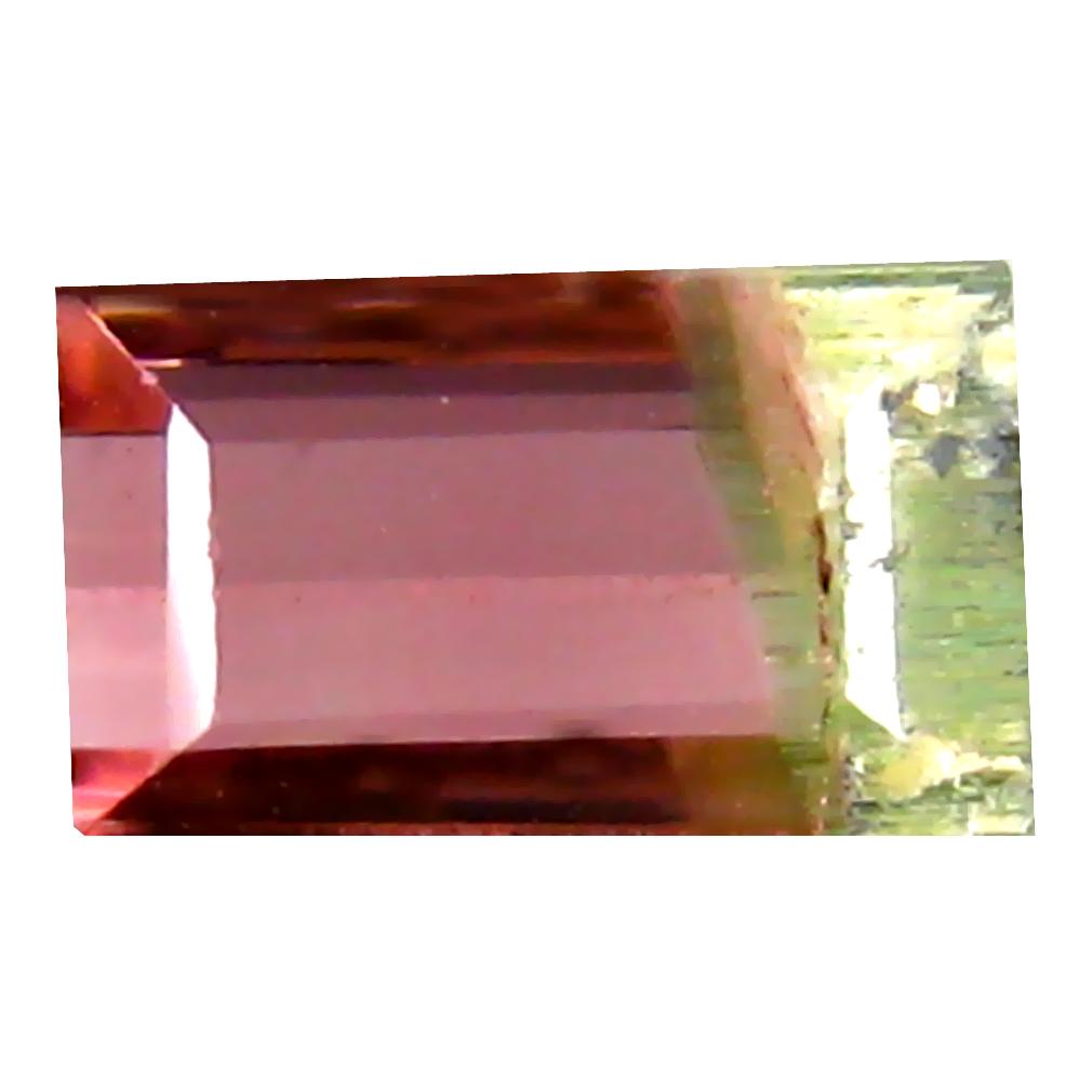 0.74 ct ASTONISHING OCTAGON (6 X 4 MM) BRAZILIAN BI-COLOR TOURMALINE LOOSE GEMSTONE