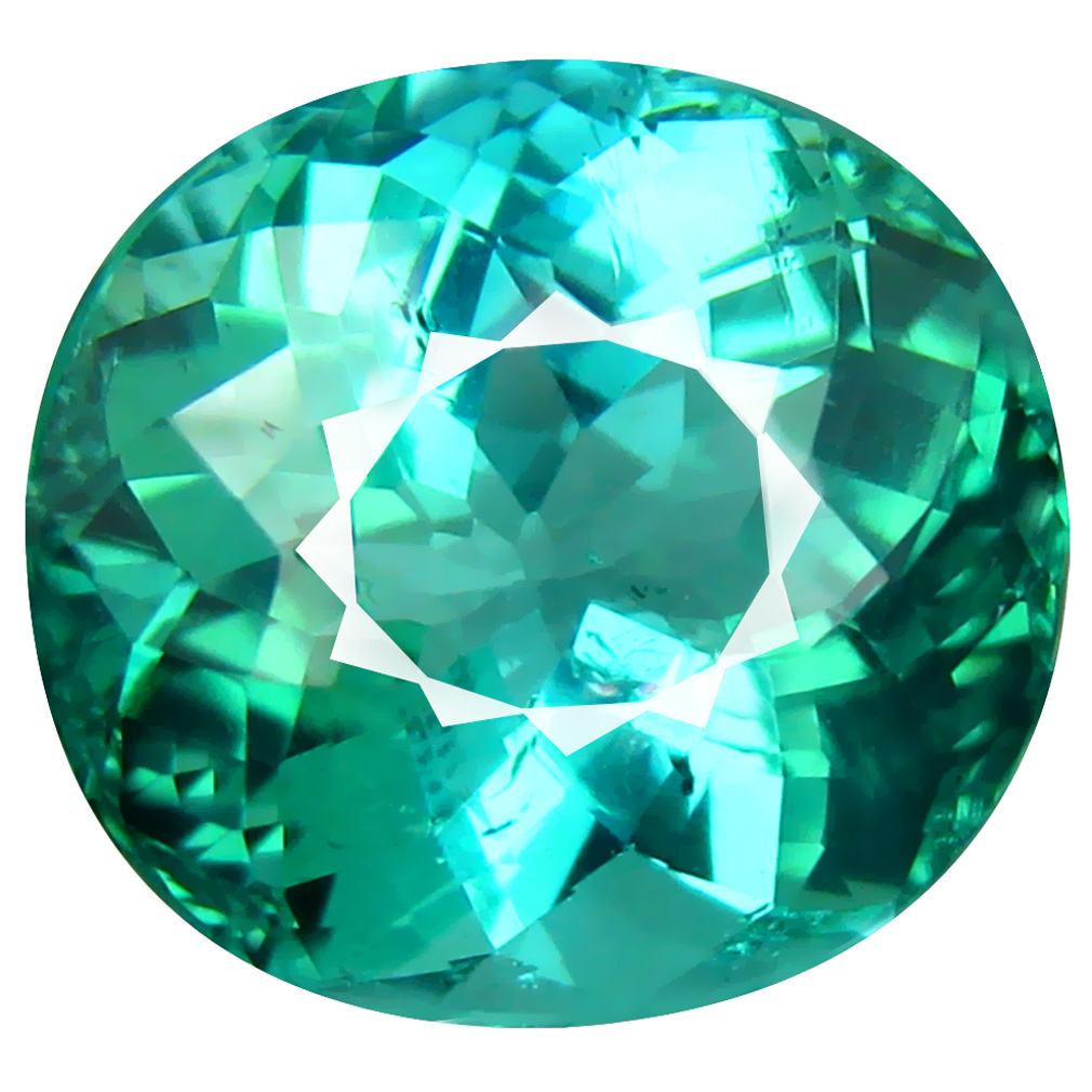 8.54 ct ATTRACTIVE OVAL CUT (13 X 12 MM) MOZAMBIQUE BLUISH GREEN TOURMALINE NATURAL GEMSTONE