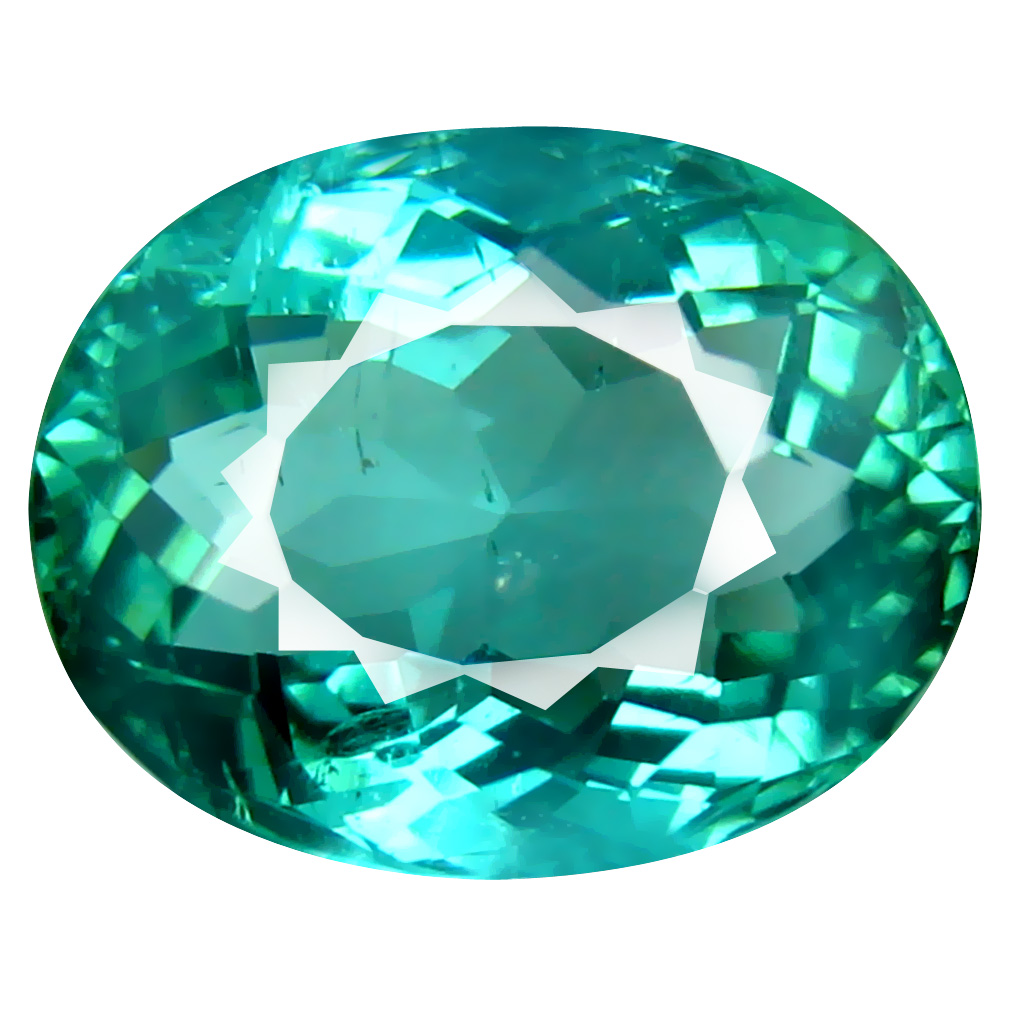 7.20 ct ROMANTIC OVAL CUT (13 X 10 MM) MOZAMBIQUE BLUISH GREEN TOURMALINE NATURAL GEMSTONE
