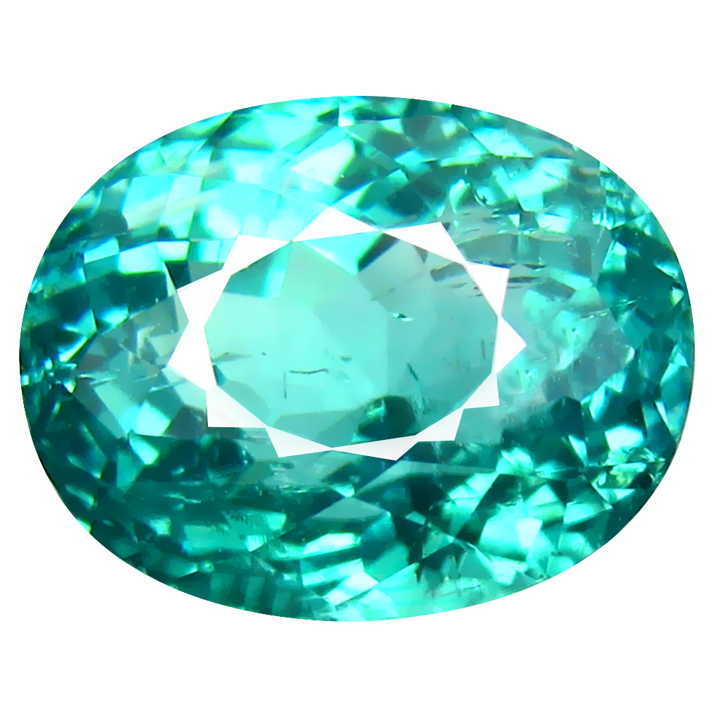 8.33 ct GRAND LOOKING OVAL CUT (12 X 10 MM) MOZAMBIQUE BLUISH GREEN TOURMALINE NATURAL GEMSTONE