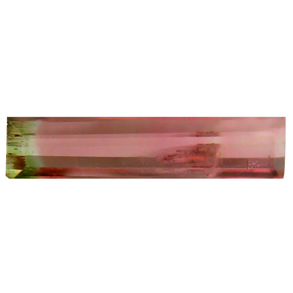 0.76 ct PRETTY OCTAGON (13 X 3 MM) BRAZILIAN BI-COLOR TOURMALINE LOOSE GEMSTONE