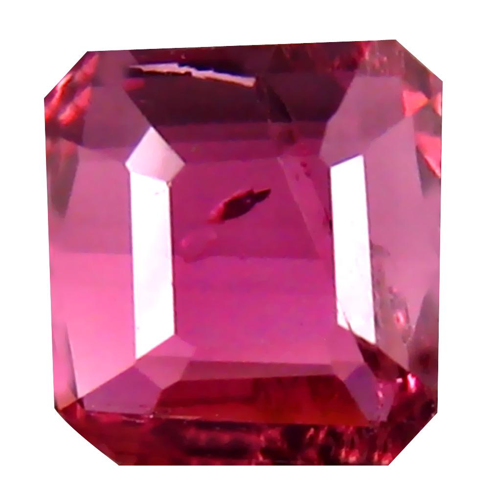 0.85 ct Phenomenal Octagon Cut (6 x 6 mm) 100% Natural (Un-Heated) Reddish Pink Rubellite Tourmaline Natural Gemstone