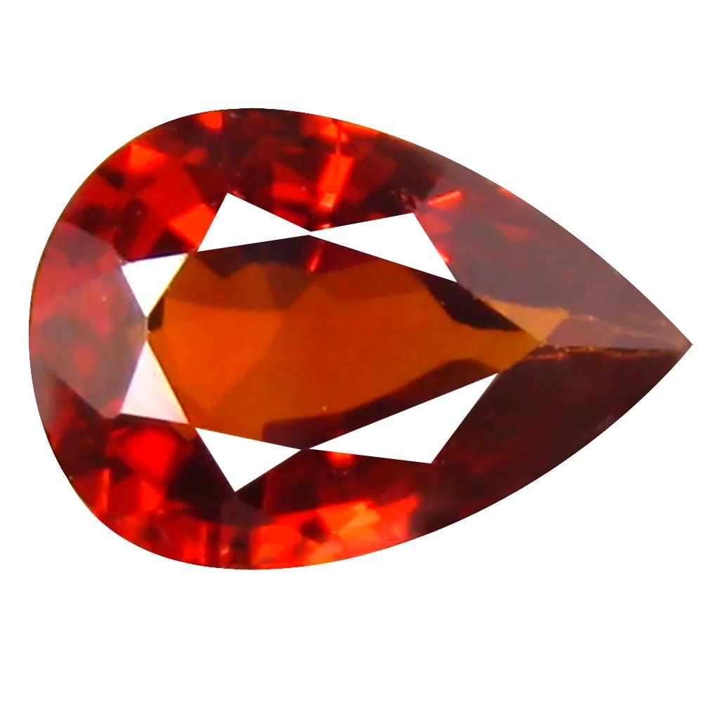 0.78 ct Five-star Pear Cut (7 x 5 mm) Namibia Reddish Orange Spessartine Natural Gemstone