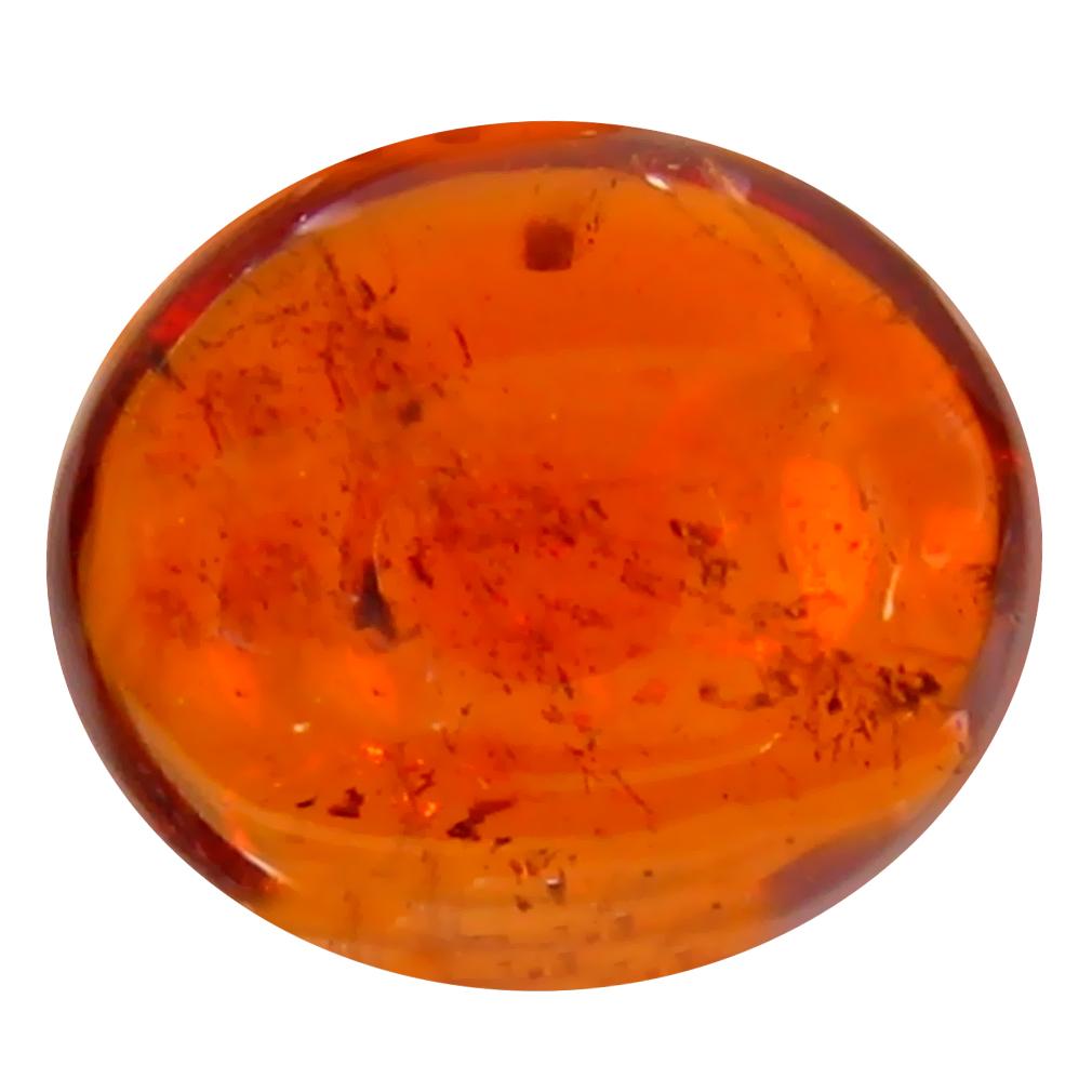 1.48 ct Romantic Oval Cabochon Cut (8 x 7 mm) Namibia Reddish Orange Spessartine Natural Gemstone