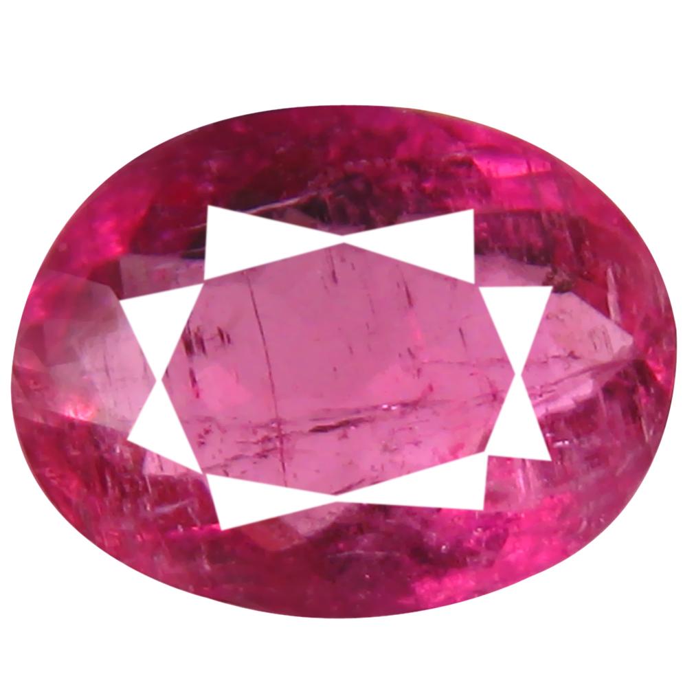 0.78 ct AAA+ Sparkling Oval Shape (7 x 6 mm) Reddish Pink Rubellite Tourmaline Natural Gemstone