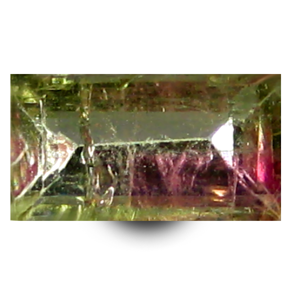 0.74 ct AAA+ Premium Rectangular Shape (7 x 4 mm) Bi Color Watermelon Tourmaline Natural Gemstone