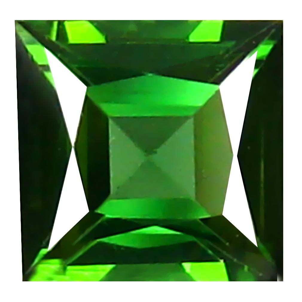 0.99 ct Flashing Princess (6 x 6 mm) Un-Heated Mozambique Green Tourmaline Loose Gemstone