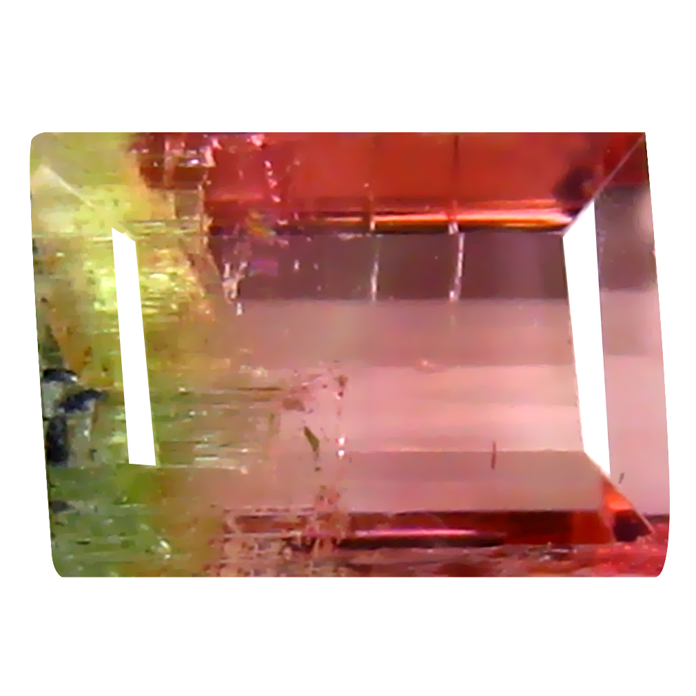 1.61 ct DAZZLING OCTAGON (7 X 5 MM) BRAZILIAN BI-COLOR TOURMALINE LOOSE GEMSTONE