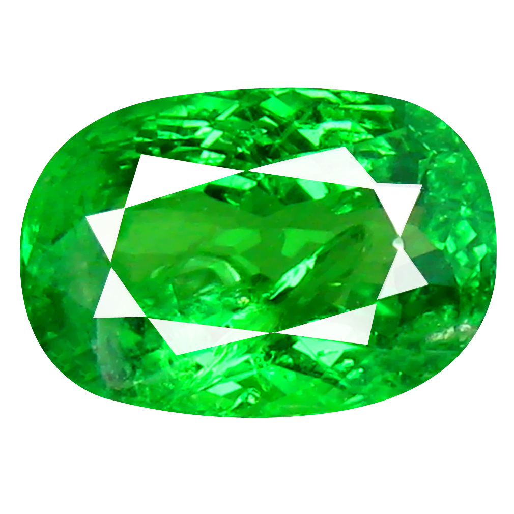 1.90 ct SHIMMERING CUSHION CUT (9 X 6 MM) TANZANIA GREEN TSAVORITE GARNET NATURAL GEMSTONE