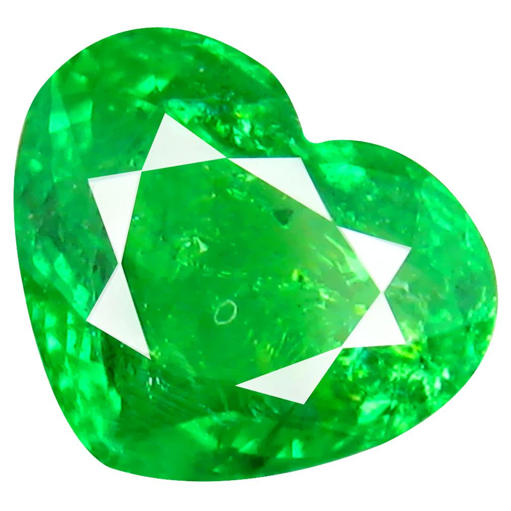 2.24 ct MIND-BOGGLING HEART CUT (8 X 9 MM) TANZANIA GREEN TSAVORITE GARNET NATURAL GEMSTONE