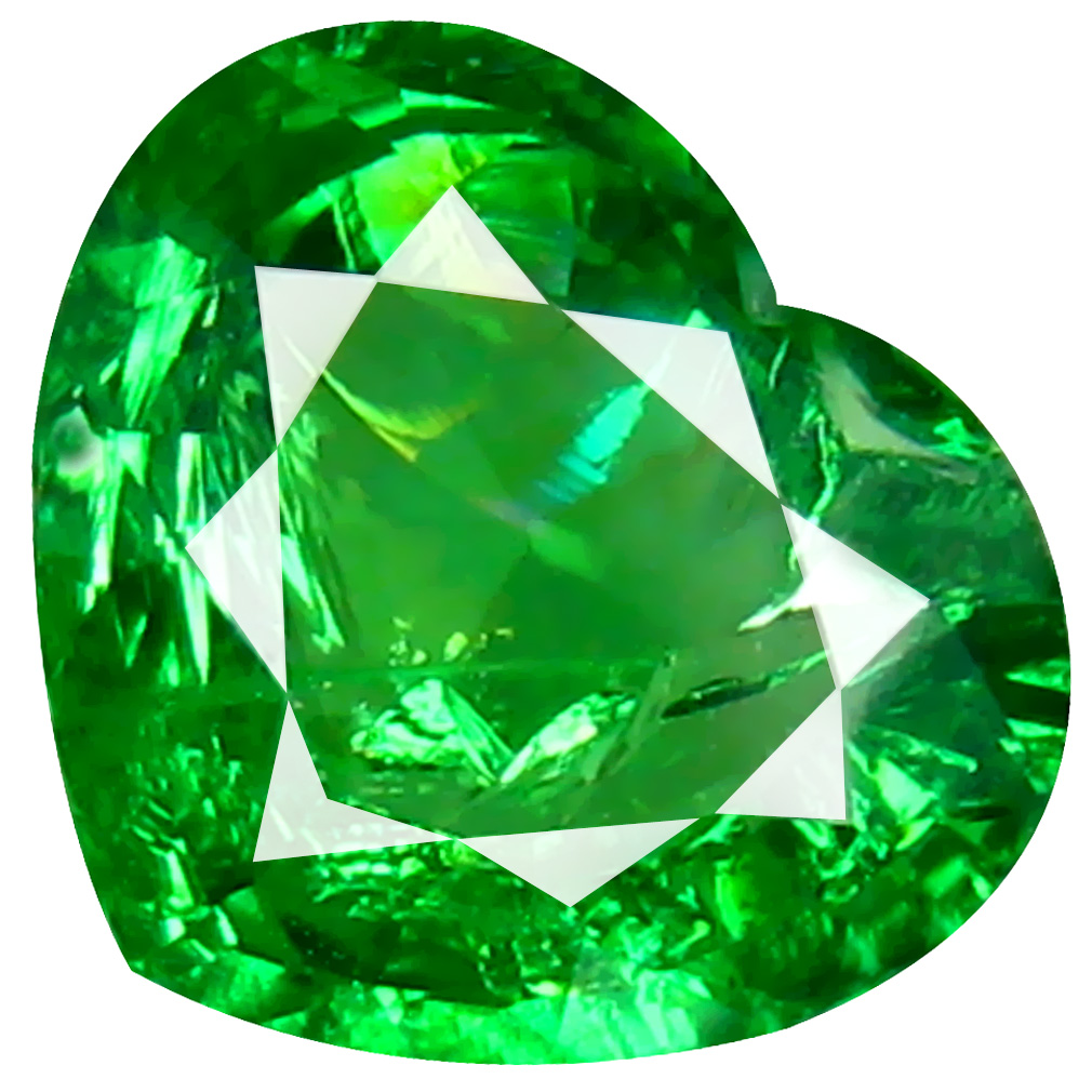 1.16 ct CHARMING HEART CUT (7 X 8 MM) TANZANIA GREEN TSAVORITE GARNET NATURAL GEMSTONE