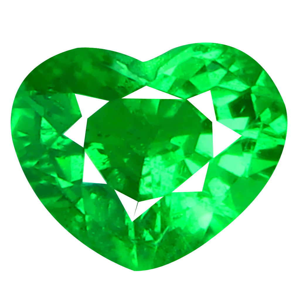 0.66 ct PLEASANT HEART CUT (6 X 5 MM) TANZANIA GREEN TSAVORITE GARNET NATURAL GEMSTONE