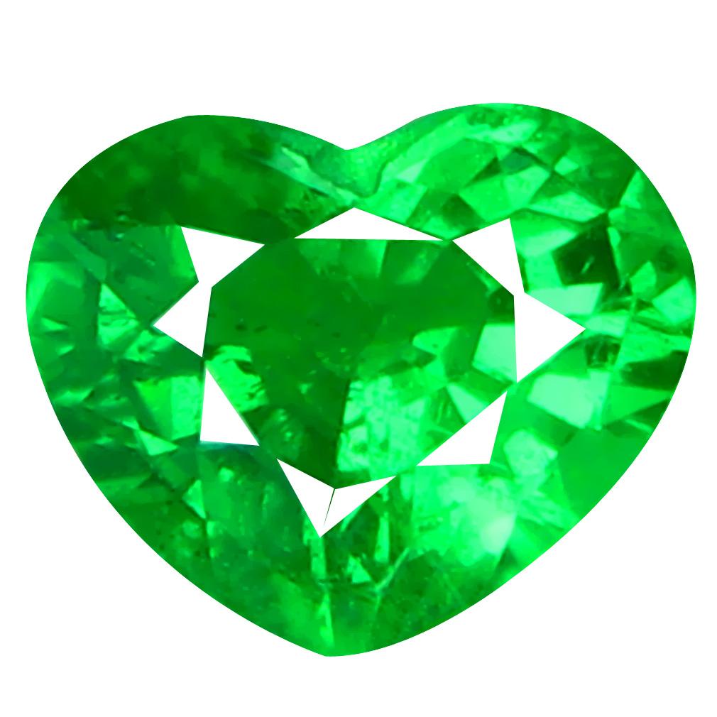 0.66 ct PLEASANT HEART CUT (6 X 5 MM) TANZANIA GREEN TSAVORITE GARNET NATURAL GEMSTONE