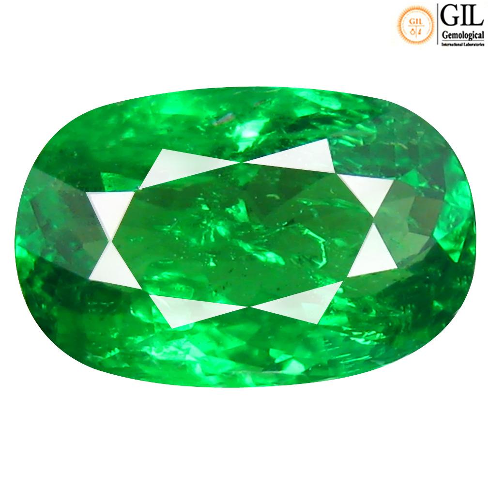 2.06 ct GIL CERTIFIED RESPLENDENT OVAL CUT (10 X 6 MM) UNHEATED / UNTREATED GREEN TSAVORITE GARNET LOOSE STONE