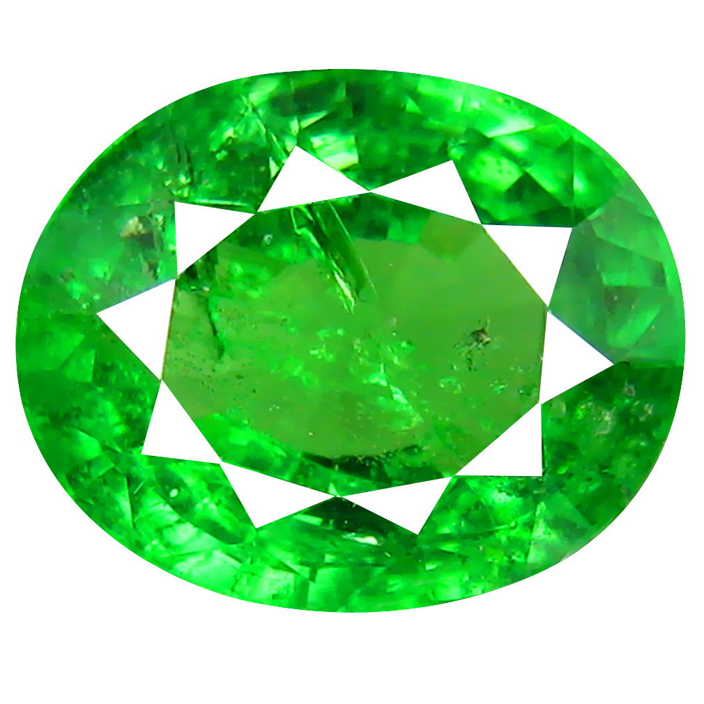2.06 ct SPLENDID OVAL CUT (9 X 7 MM) TANZANIAN GREEN TSAVORITE GARNET LOOSE GEMSTONE