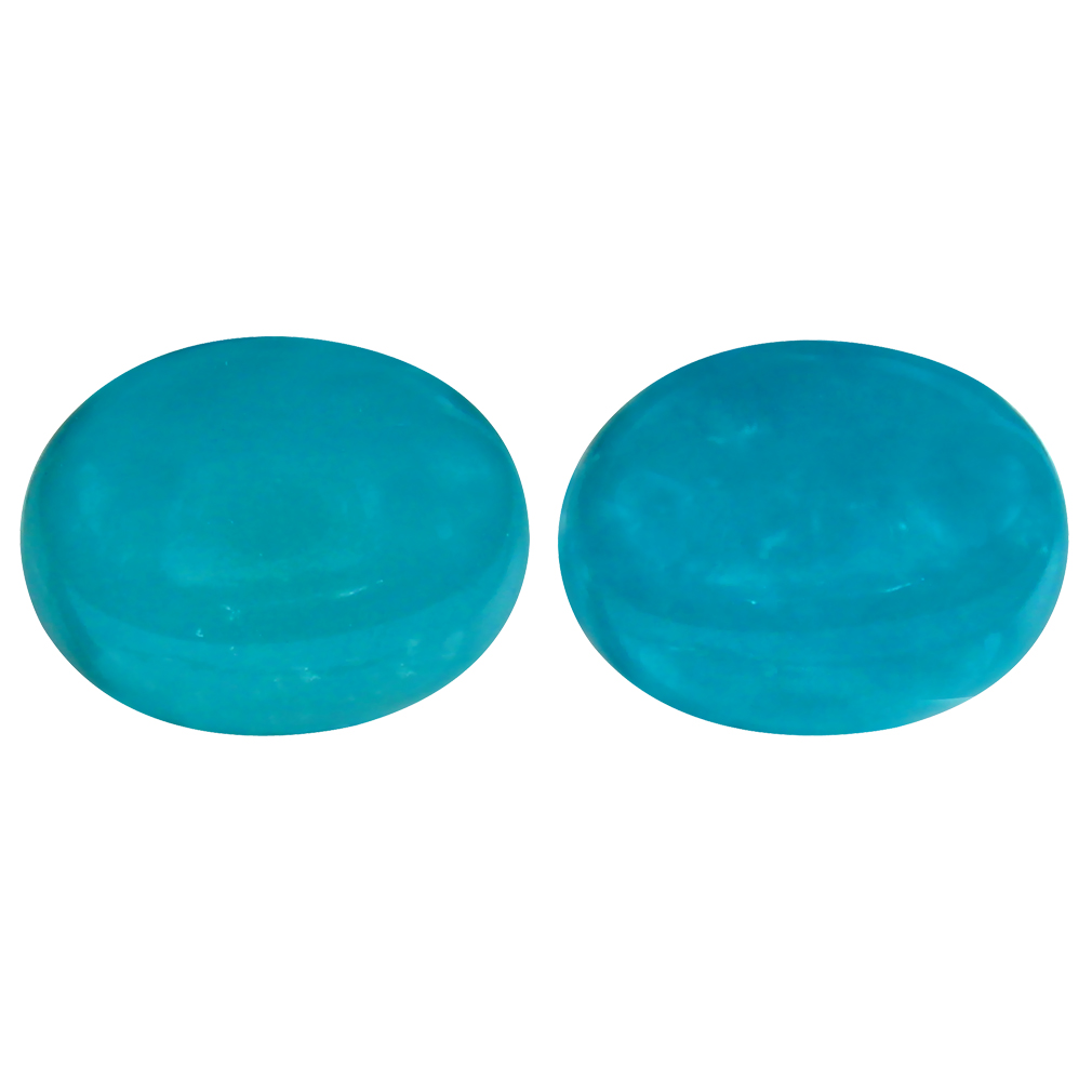 3.10 ct MATCHING PAIR Incredible Oval Cabochon Cut (9 x 7 mm) Greenish Blue Turquoise Natural Gemstone