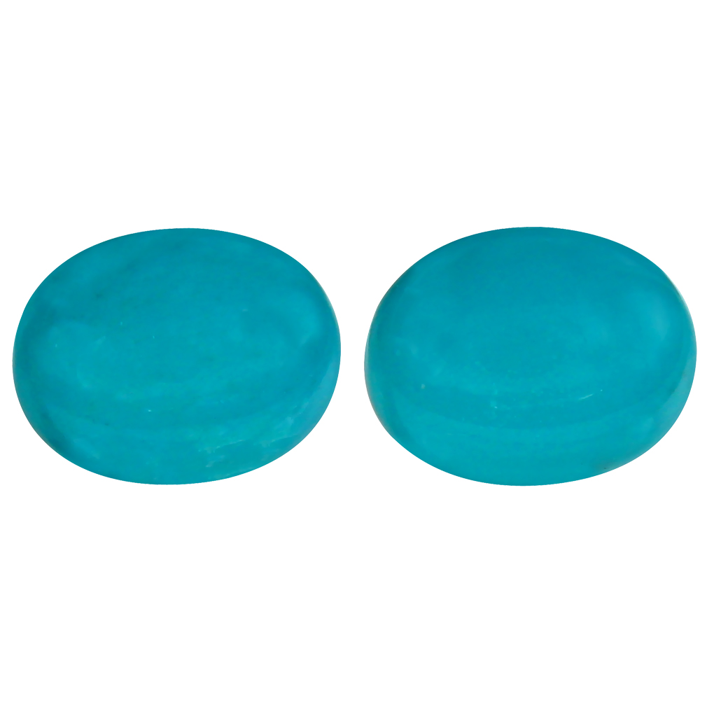 2.72 ct (2pcs) MATCHING PAIR Topnotch Oval Cabochon Cut (9 x 7 mm) Greenish Blue Turquoise Genuine Stone