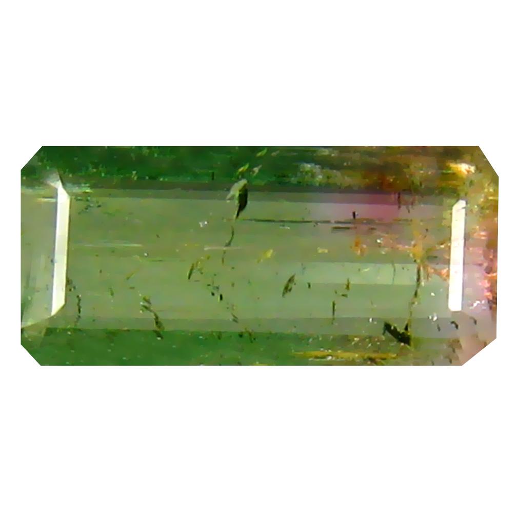 0.75 ct Grand looking Octagon Cut (9 x 4 mm) Brazil Watermelon Color Bi-Color Tourmaline Natural Gemstone