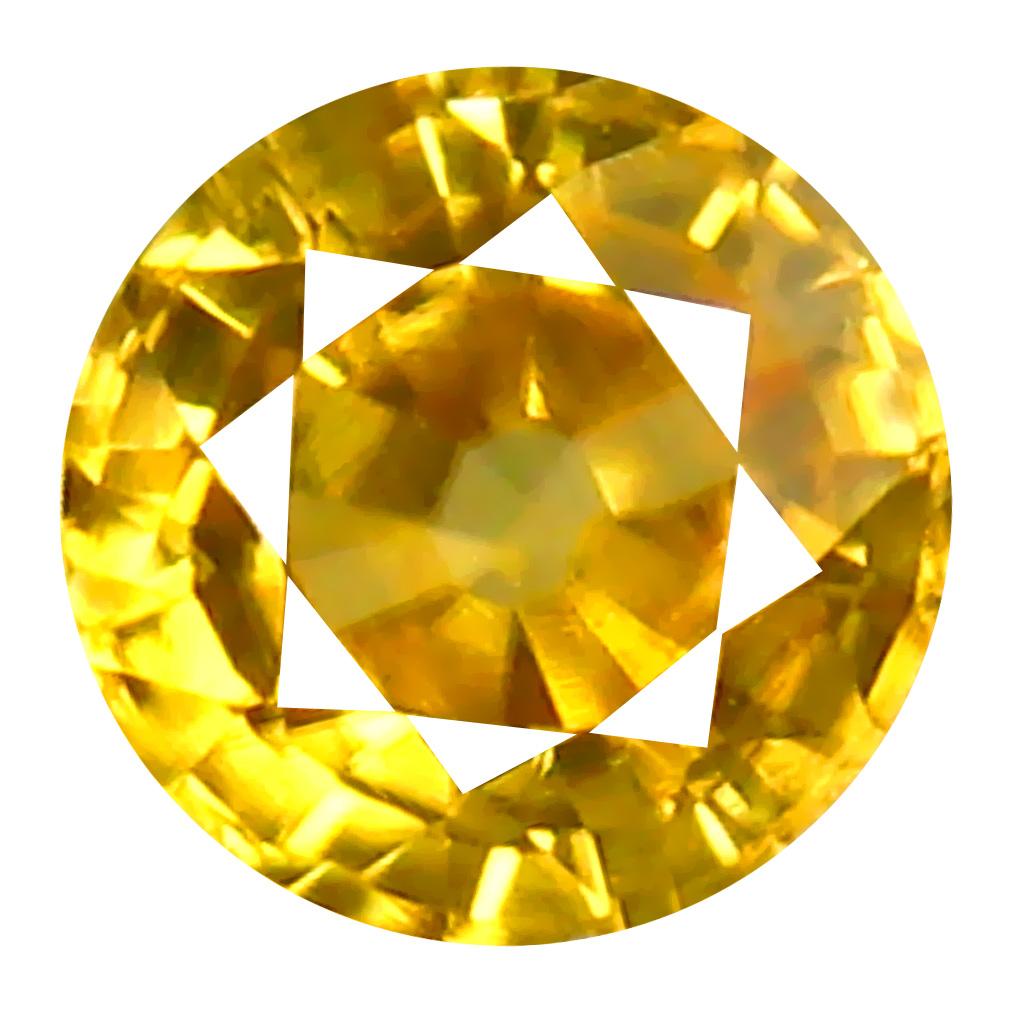 0.79 ct AAA+ Sparkling Round Shape (5 x 5 mm) Golden Yellow Zircon Natural Gemstone