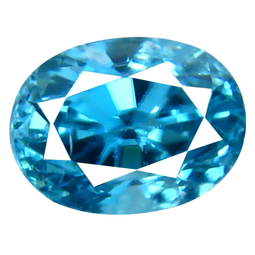 1.36 ct Elegant Oval Cut (6 x 5 mm) Cambodian Blue Zircon Natural Loose Gemstone