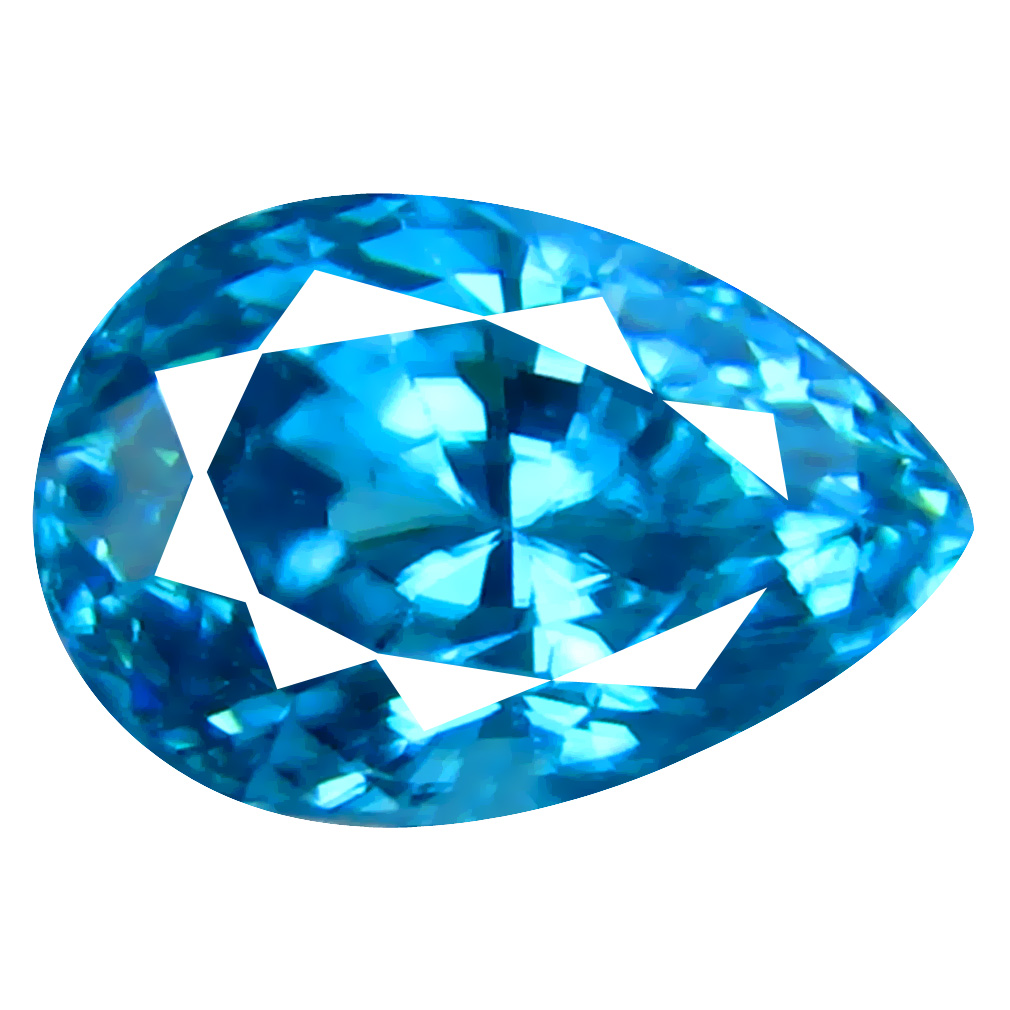 2.20 ct Sparkling Pear Cut (8 x 5 mm) Cambodian Blue Zircon Natural Loose Gemstone