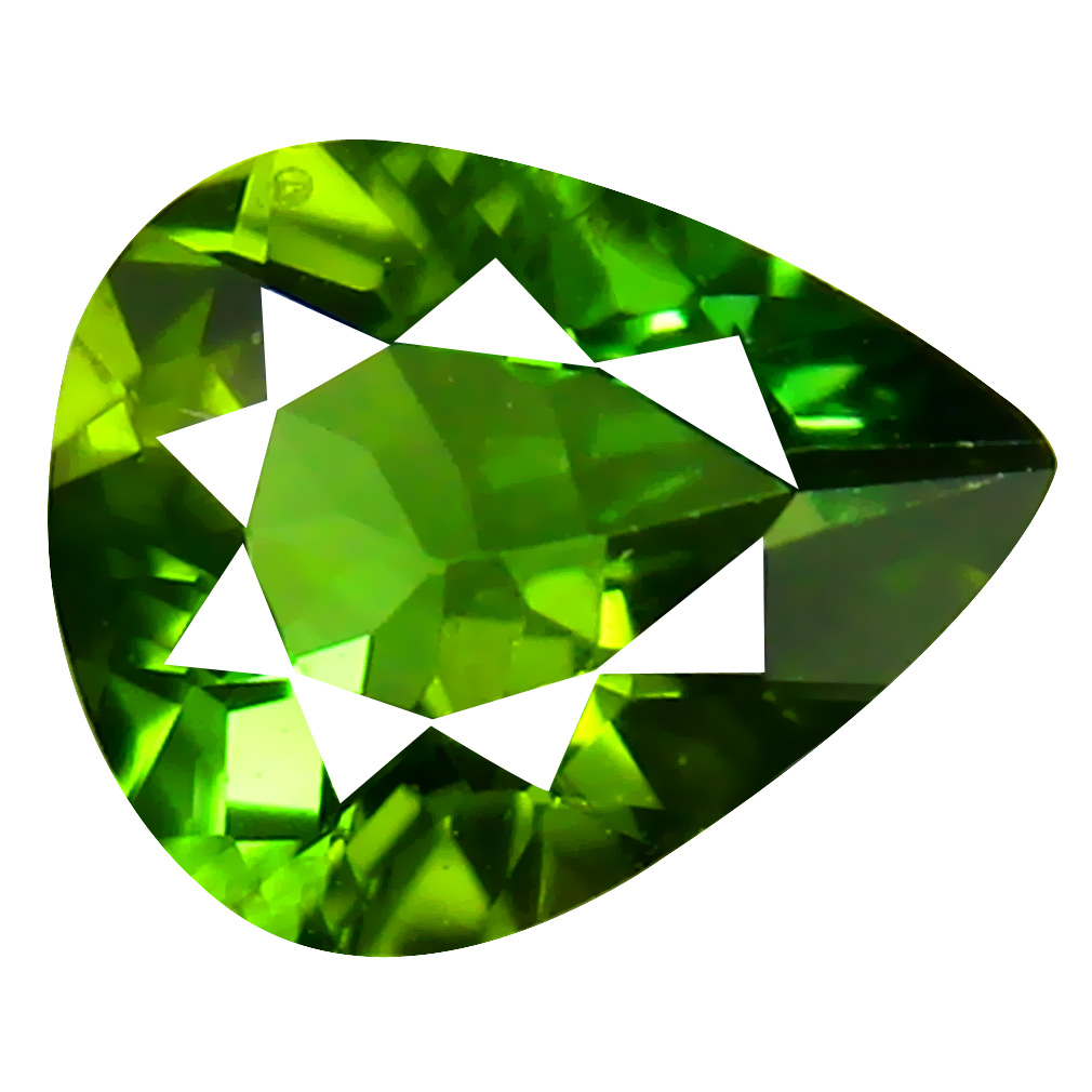 0.83 ct Attractive AAA Pear Shape (7 x 6 mm) Green Green Tourmaline Natural Loose Stone