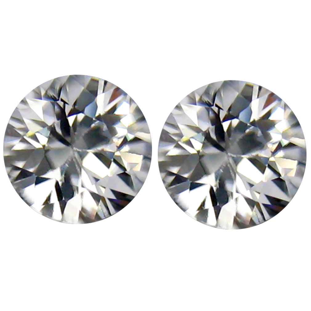 2.01 ct (2pcs) Incredible MATCHING PAIR 6 mm Round cut Un-Heated White Zircon Natural Gemstone