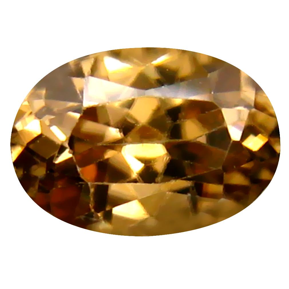 1.75 ct Flashing Oval Cut (8 x 6 mm) Un-Heated Brownish Yellow Zircon Natural Gemstone