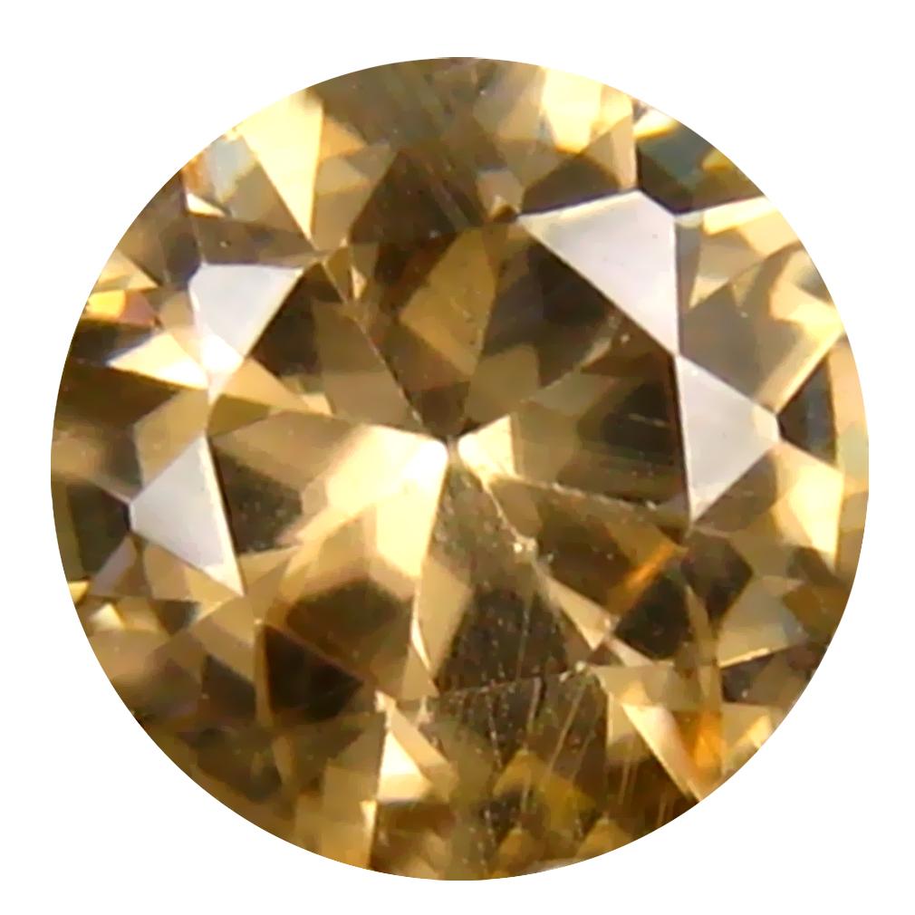 1.50 ct Attractive 6 mm Round Shape Un-Heated Brownish Yellow Zircon Natural Gemstone
