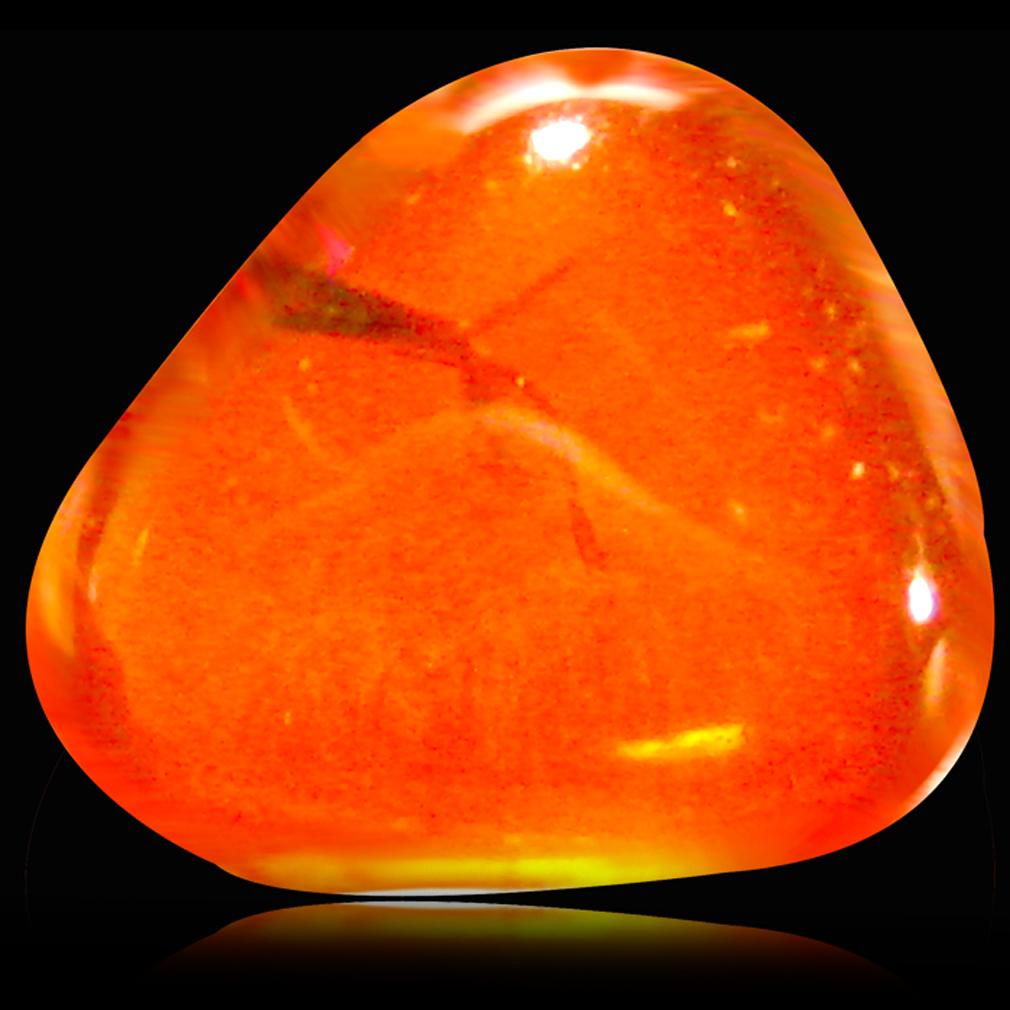 0.98 ct Astonishing Fancy Cabochon (8 x 7 mm) Flashing 360 Degree Multicolor Red Fire Opal Gemstone