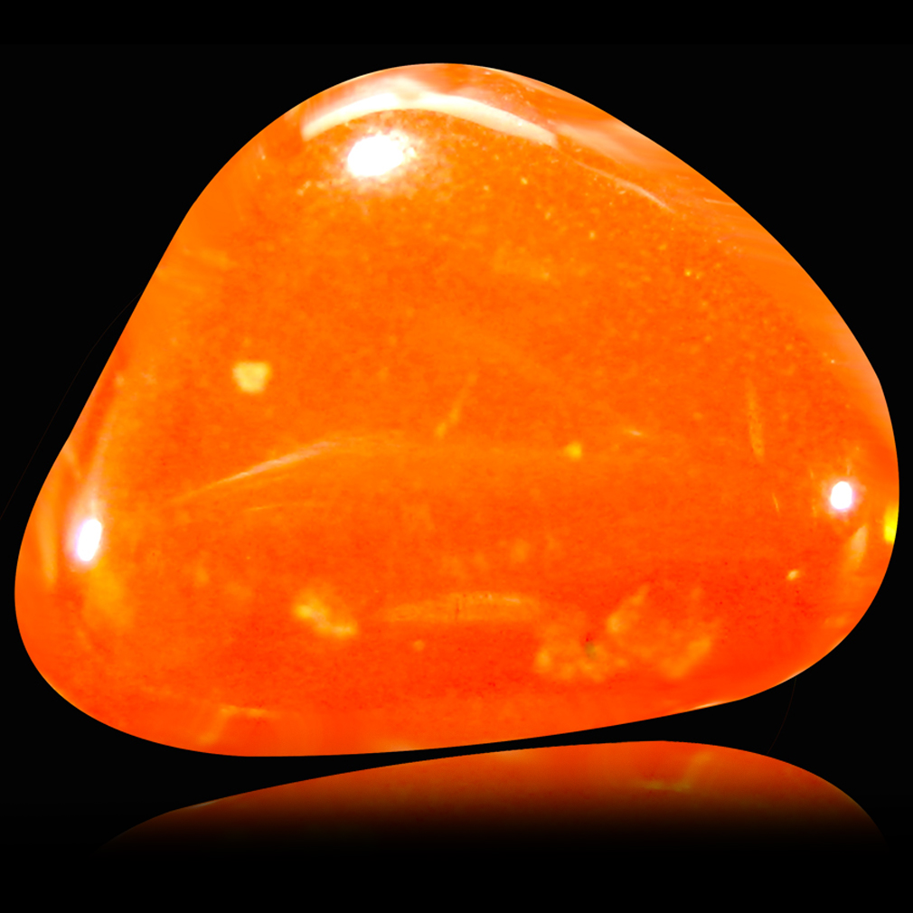 1.44 ct First-class Fancy Cabochon (10 x 8 mm) Flashing 360 Degree Multicolor Red Fire Opal Gemstone