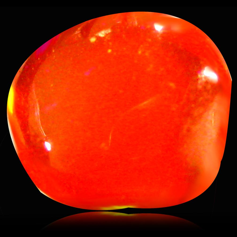 1.27 ct Splendid Fancy Cabochon (8 x 7 mm) Flashing 360 Degree Multicolor Red Fire Opal Gemstone