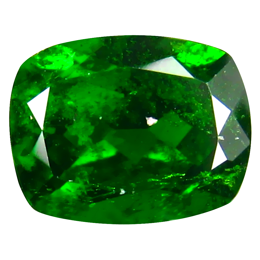 2.86 ct  Flashing Cushion Shape (9 x 7 mm) Green Chrome Diopside Natural Gemstone