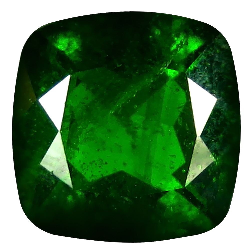 2.54 ct  Sparkling Cushion Shape (8 x 8 mm) Green Chrome Diopside Natural Gemstone