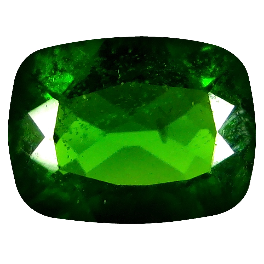 1.38 ct  Eye-catching Cushion Shape (8 x 6 mm) Green Chrome Diopside Natural Gemstone